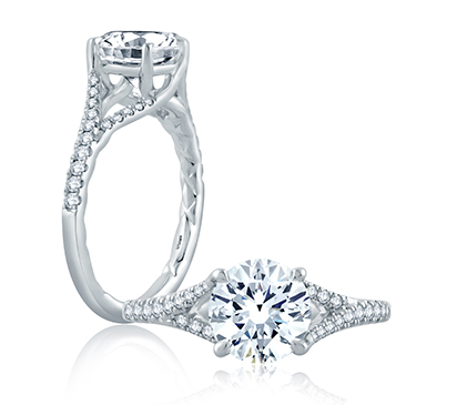 Flowing Pave Diamond Split Shank Engagement Ring from the Seasons of Love Collection