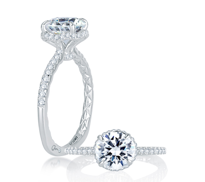 Alluring Hand Set Pave Diamond Halo Quilted Engagement Ring from the Classics Collection