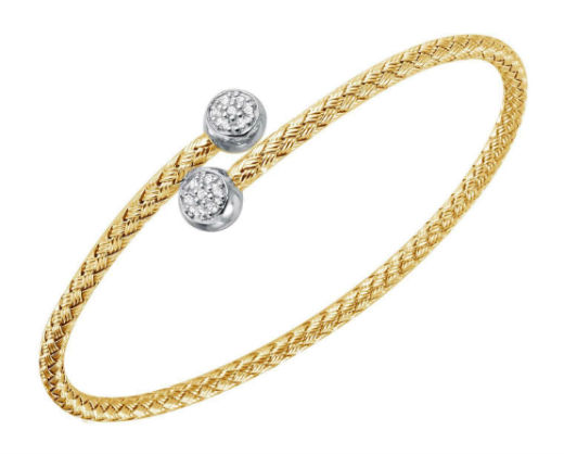 Sterling Silver Gold Rhodium Woven Bracelet