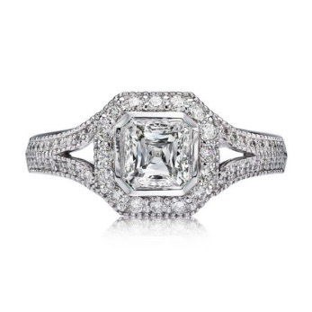 L'Amour Diamond Engagement Ring with a Crisscut Asscher cut center diamond