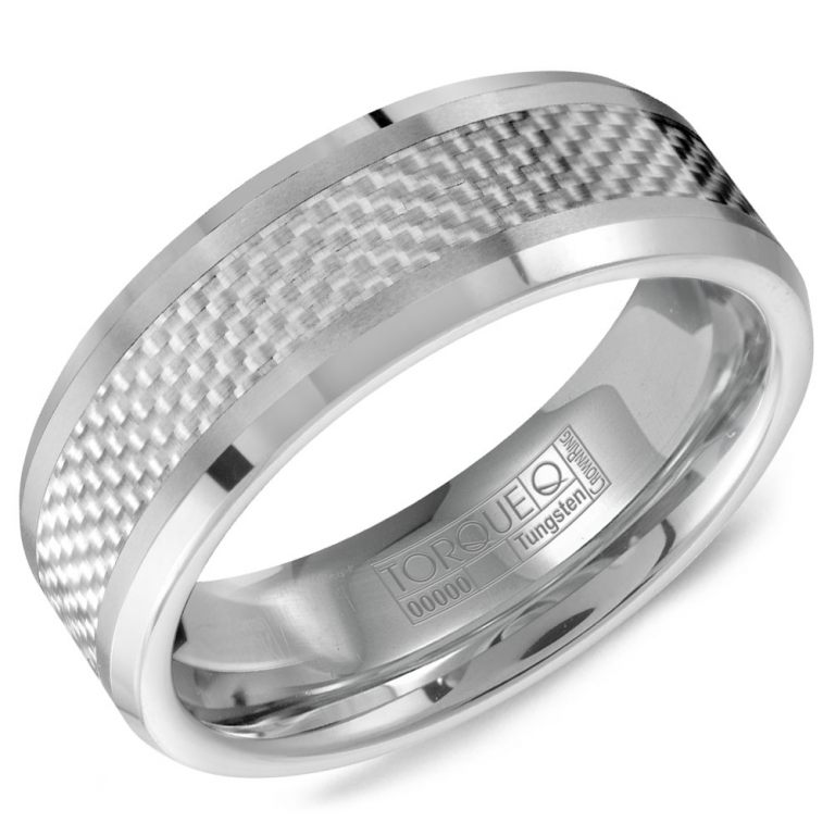 Tungsten and White Carbon Fiber Wedding Band
