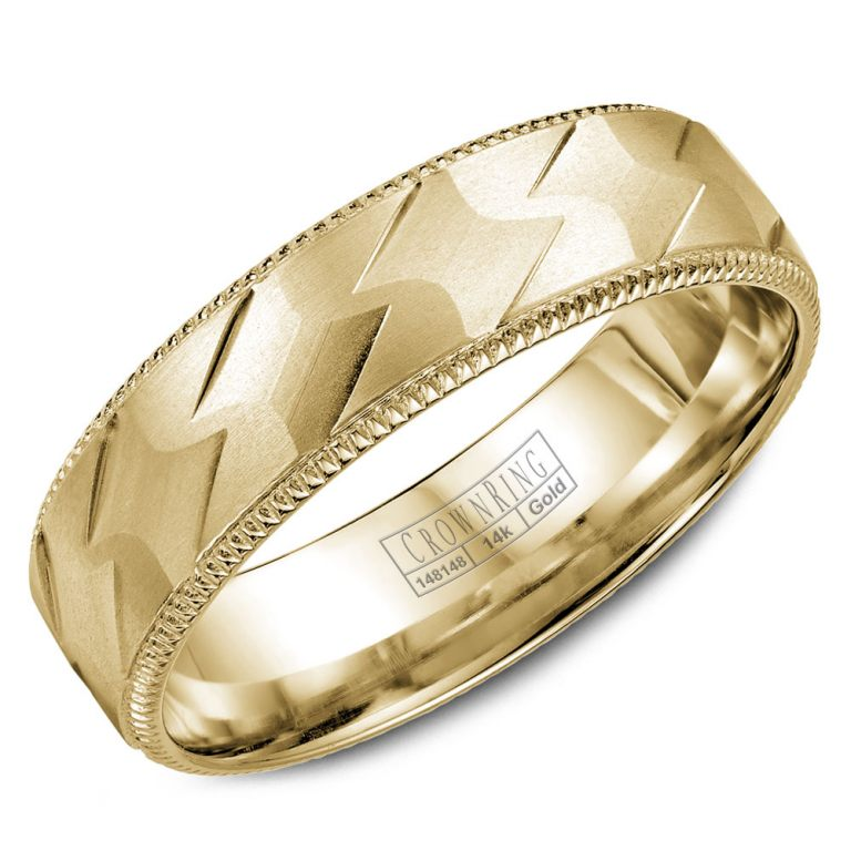 14k Yellow Gold Patterned Wedding Band