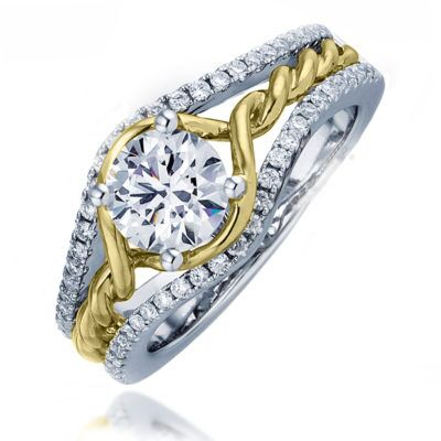 14k Yellow and White Gold Twisted Roped Diamond Engagement Ring
