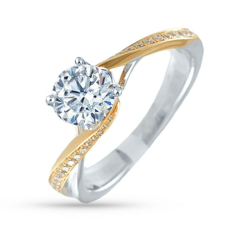 14k Yellow and White Gold Bead Set Twist Diamond Engagement Ring