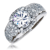 14k White Gold Diamond Cluster Engagement Ring