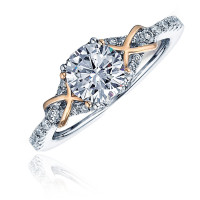 14k White and Rose Gold Pave Diamond Engagement Ring