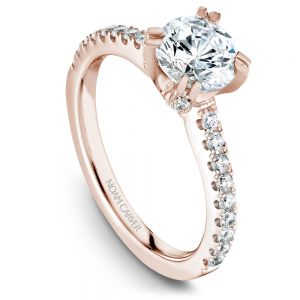 14K Rose Gold Round Center Diamond Engagement Ring