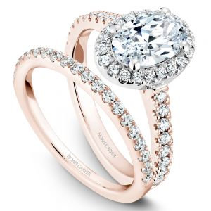 14K Rose and White Gold Oval Center Diamond Wedding Set