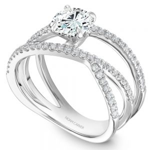 14K White Gold Round Center Split Shank Diamond Engagement Ring