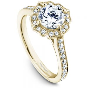 14K Yellow Gold Round Center Diamond Engagement Ring