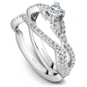 14K White Gold Princess Center Diamond Wedding Set