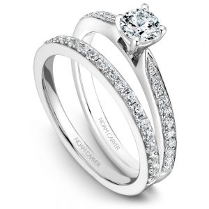14K White Gold Round Center Diamond Wedding Set