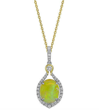 Ethiopian Opal Diamond Necklace