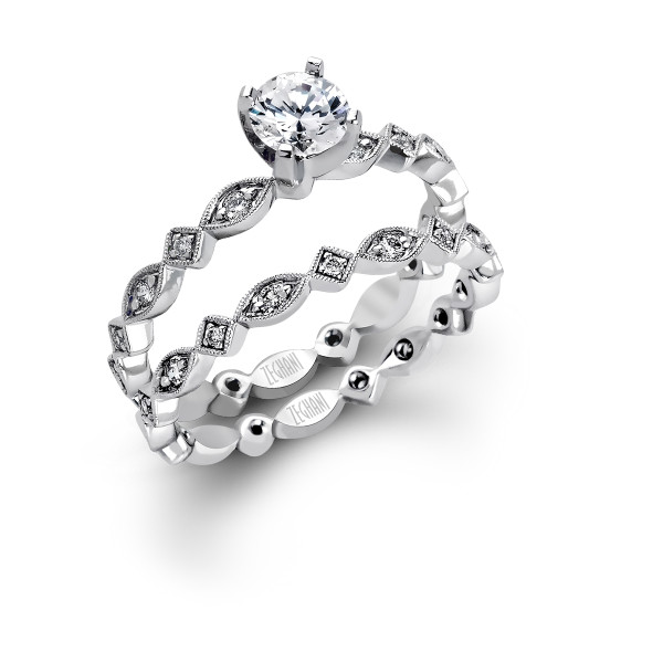14k White Gold Petite Diamond Wedding Set