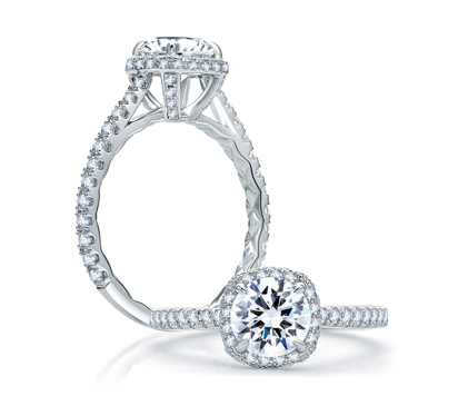 Quilted Round Halo Engagement Ring from the Classics Collection