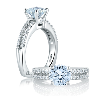 Two Row Shared Prong Engagement Ring from the Classics Collection