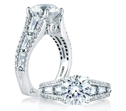 Round Engagement Ring with Baguette Side Diamonds from the Art Deco Collection