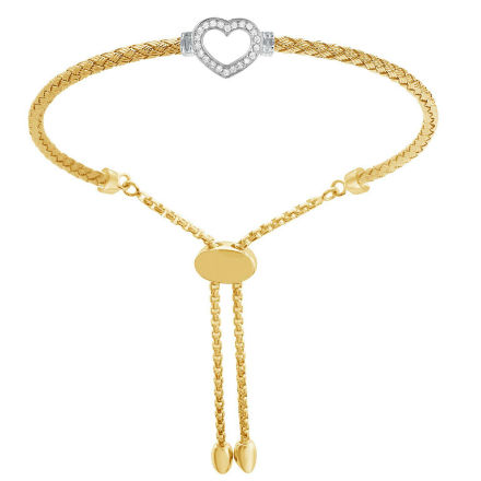 Sterling Silver Gold Rhodium Heart Bolo Bracelet