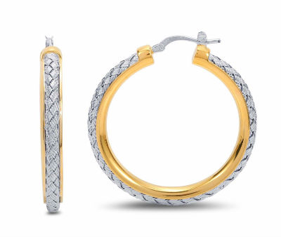 Woven Sterling Silver and Gold Rhodium Hoop Earrings