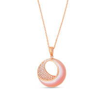 14k Rose Gold Pink Mother of Pearl Diamond Pendant