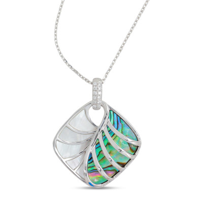 14k White Gold, Mother of Pearl, Diamond and Abalone Pendant