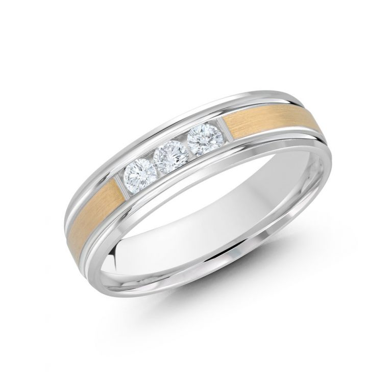 Mens Two Tone Diamond Ring