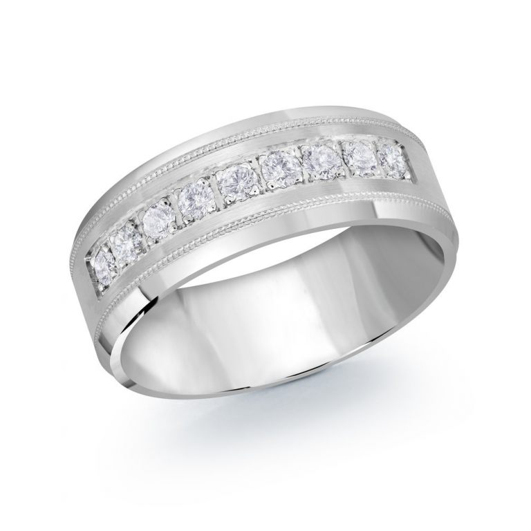 Mens White Gold Diamond Band