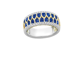 18k White and Yellow Gold Blue Sapphire Ring