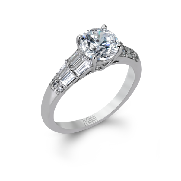 14k White Gold Baguette Diamond Engagement Ring